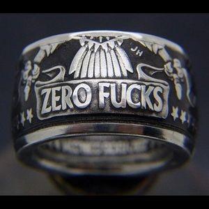Zero Fuc.. Men's Ring Sz 10 Nickel/Silver Coin